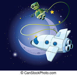 An airship and a robot in the outerspace