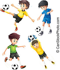Four football players - Illustration of the four football...