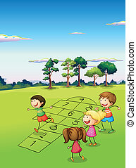 Children playing in the field - Illustration of the children...