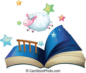 A book with a sheep jumping - Illustration of a book with a...