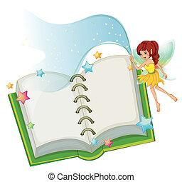 An open book with stars and a fairy