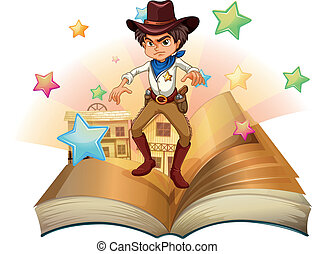 A book with a cowboy and stars - Illustration of a book with...
