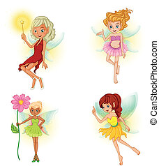 Four beautiful fairies - Illustration of the four beautiful...