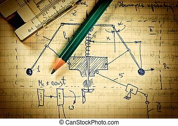 lápiz, diapositiva, regla, viejo, página,...