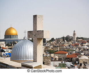 Mosques and churches in jerusalem - Cross, mosques, church...