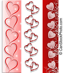 Valentine 3 Borders Hearts - Valentine Hearts Borders in 3...