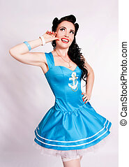 Sailor pin up girl - Sailor pin up girl with bright make up...