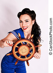 Sailor pin up girl - Sailor pin up girl with steering wheel...
