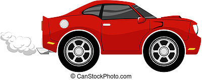 funny red car cartoon - funny car cartoon isolated on white...