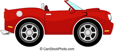 funny red convertible car isolated on white background