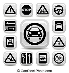 auto traffic signs - Elegant Traffic Signs Set Created For...