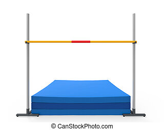 High Jump Landing Mat isolated on white background. 3D...