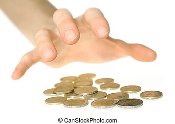 Hand reaching for money - Hand going to grab euro coins,...