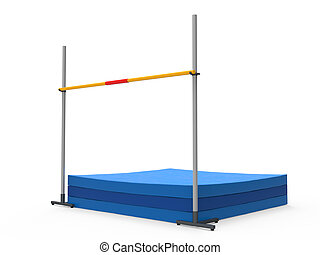 High Jump Landing Mat isolated on white background 3D render...