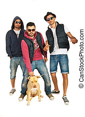 Rappers guys with pitbull dog - Three rappers guys with...