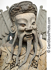 antique statue of a Thai soldier close up