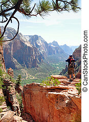 Ascension - The ascension along the rim trail of the Zion NP...