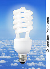 Modern light bulb and climate background - Low-energy light...