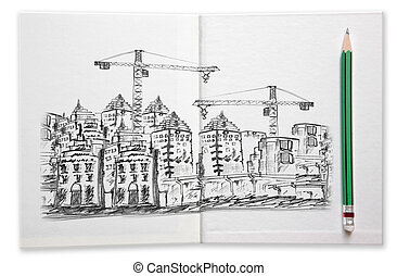 building construction sketching by pencil on white book