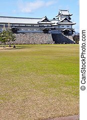Green and white - Superb view of the Kanazawa Castle and its...