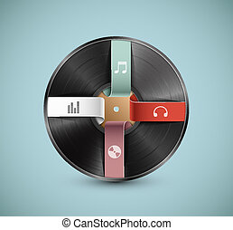 Musical infographic - Vinyl record, infographic banner. Eps...