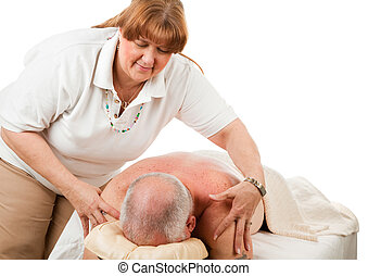 Massage - Gentle Touch - Massage therapist gently rubbing a...
