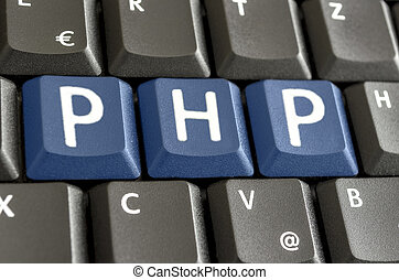 PHP written on computer keyboard - PHP written with blue...