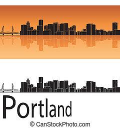 Portland skyline in orange background in editable vector...