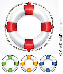 Color life buoy on white - Color life buoy with rope...