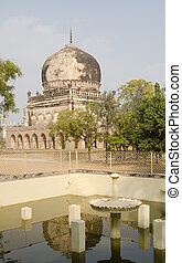 Mausoleum and fountain, Hyderabad - View from an Islamic...