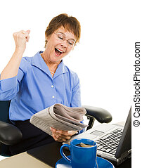 Great Financial News - Business woman very excited about...