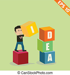 Cartoon Businessman stacking idea box - Vector illustration - EPS10