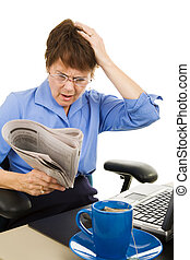 Bad Business News - Business woman upset about what she\\\'s...