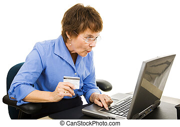 Online Bargain Shopper - Mature woman finds a bargain...