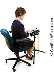 Stenographer Working - Court reporter typing on her...