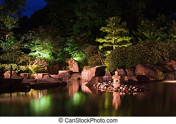 Japanese lantern in the garden at night