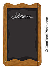 Menu board outside a restaurant or cafe