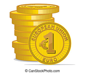 Golden coins with euro sign