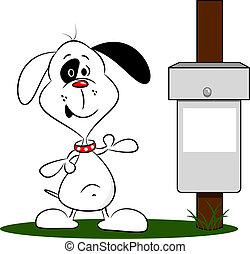 Cartoon Dog and Bin