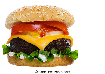 Cheese burger - Big Juicy cheese burger on a white...