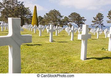 Military cemetery - Omaha Beach, Normandy France. - Graves...