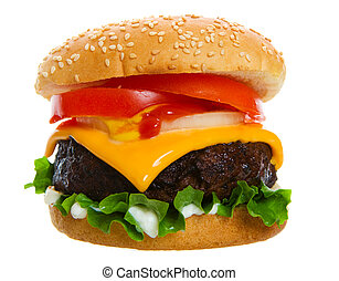 Juicy burger - Big and Juicy cheese burger on a white...