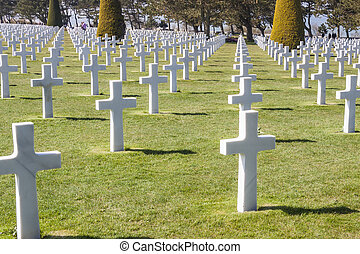 Military cemetery - Omaha Beach, Normandy France.