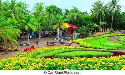peoples walks in Nong Nooch garden - peoples walks in Nong...