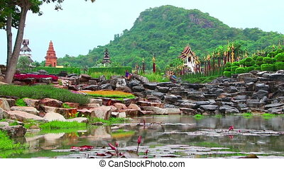 pond in Nong Nooch tropical garden in Thailand