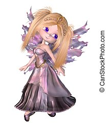 Toon Fairy Princess in Purple Dress - Cute toon fairy...