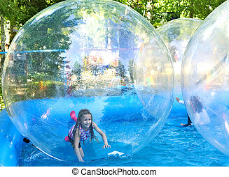 Zorbing in park - Attraction on the water - zorbing