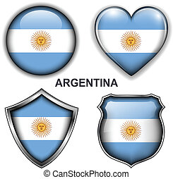 Argentina icons - Argentina flag icons, vector buttons.