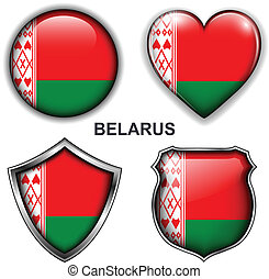 Belarus icons - Belarus flag icons, vector buttons.