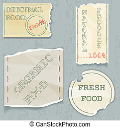 Labels of food on scraps old paper